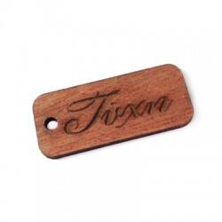 "Wooden Rectangular Pendant Tag ""ΤΥΧΗ"" 20x45mm"