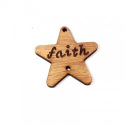 Ξύλινο Στοιχείο Αστέρι ''faith'' με 2 Τρύπες 40mm