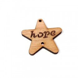 """Wooden Pendant Connector Star """"Hope"""" 2 holes 40mm"""