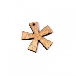 """Ciondolo di Legno Segno Asterisco """"*"""" 35x33mm (spess.3.5mm)"""