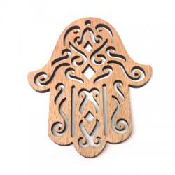Wooden Pendant Fatima (Hamsa) Hand 60x70mm