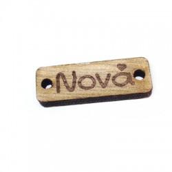 Ξύλινο Στοιχείο Ταυτότητα για Μακραμέ ''Νονά'' 25x8mm