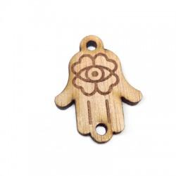 Wooden Connector Pendant Hamsa Fatma Hand 21x28mm