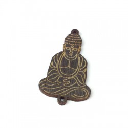 Wooden Pendant Buddha with 2 holes 27x39mm