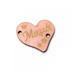 Ξύλινο Στοιχείο Καρδιά ''Μαμά'' για Μακραμέ 22x20mm