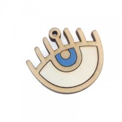 Ciondolo di Legno Occhio Menorah 39x32mm