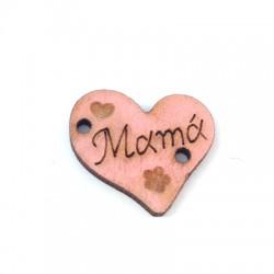 """Ξύλινο Στοιχείο Καρδιά """"Mamá"""" για Μακραμέ 18x16mm"""