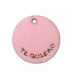 Wooden Pendant 'Te Quiero' 24mm