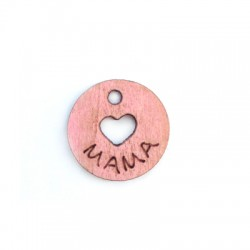"""Pendentif Cœur en bois avec """"MAMA"""" 17mm"""