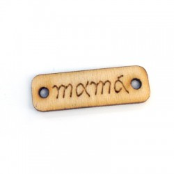 Wooden Connector Tag 'mama' 21x7mm