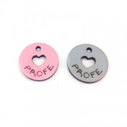 Wooden Charm Round 'Profe' 17mm