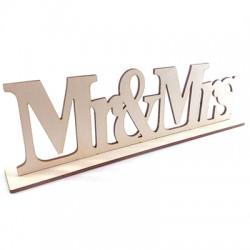 """Decorazione di Legno Targa con Scritta """"Mr&Mrs"""" 32x9cm (set 2 pezzi)"""