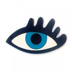Wooden Pendant Eye with eyelashes 80x48mm