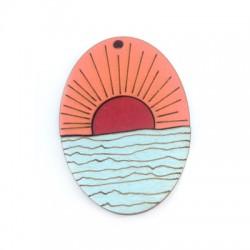 Wooden Pendant Oval Sunset Sea 60x42mm