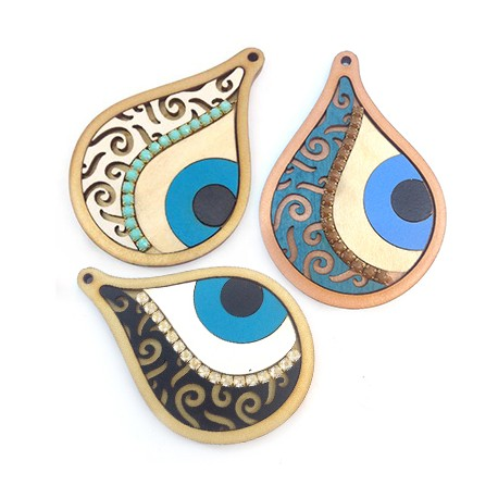 Wooden Pendant Drop with Chain and Eye 70x50mm