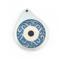 Wooden Pendant Drop Filigree with Eye 49x39mm