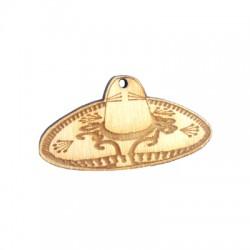 Pendentif Sombrero en Bois 50x26mm