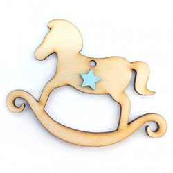 Wooden Pendant Carousel Horse 94x70mm