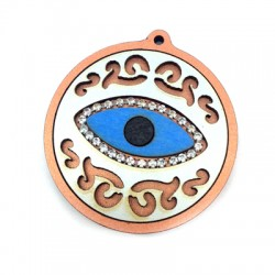 Wooden Pendant Round with Eye and Cup Chain 49mm