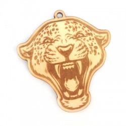 Ciondolo di Legno Testa di Leopardo Incisa 46x45mm