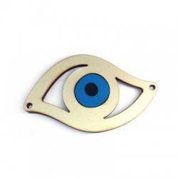 Ciondolo di Legno Occhio Portafortuna 80x47mm