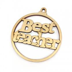 """Ξύλινο Μοτίφ Γούρι """"Best teacher"""" 62mm"""