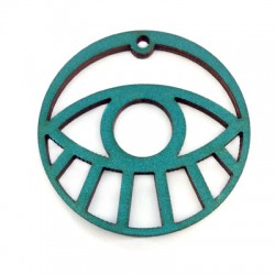 Ciondolo di Legno Rotondo con Occhio Portafortuna 50mm