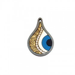 Wooden Drop Pendant Eye 27x40mm With Steel Chain 2.10mm