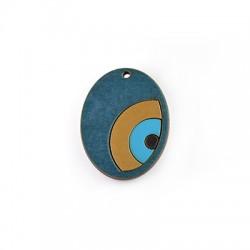 Pendentif ovale en Bois avec œil porte-bonheur 35x45mm