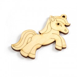 Pendentif pony en Bois 65x39mm