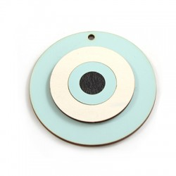 Ciondolo di Legno Cerchio con Occhio Portafortuna 55mm
