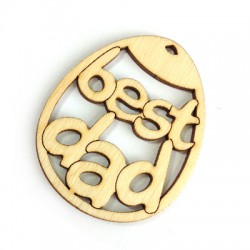 """Wooden Pendant Oval """"Best DAD"""" 60x48mm"""