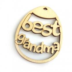 Ξύλινο Μοτίφ Oβάλ  ''Best Grandma'' 60x48mm