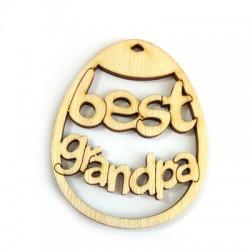 """Pendentif œuf de Pâques """"best grandpa"""" en Bois 60x48mm"""