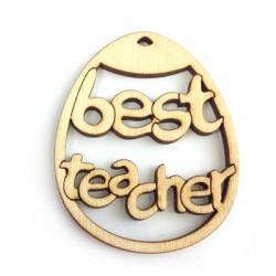 """Wooden Pendant Oval """"Best TEACHER"""" 60x48mm"""