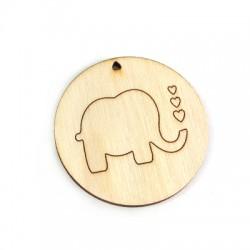 Ciondolo di Legno Rotondo con Elefante Inciso 50mm
