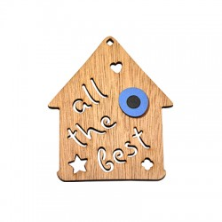 """Wooden Lucky Pendant House """"all the best"""" 74x63mm"""