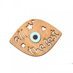 "Wooden Lucky Pendant Eye ""all the best"" 53x74mm"