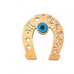 """Wooden Lucky Pendant Horseshoe """"all the best"""" 69x62mm"""