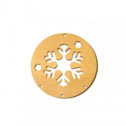 Wooden Lucky Pendant Round Snowflake 90mm