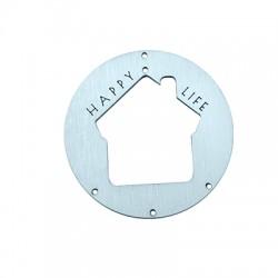 """Ξύλινο Μοτίφ Στρογγυλό με Σπίτι """"HAPPY LIFE"""" 90mm"""