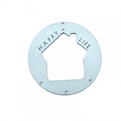 """Wooden Lucky Pendant Round House """"HAPPY LIFE"""" 90mm"""