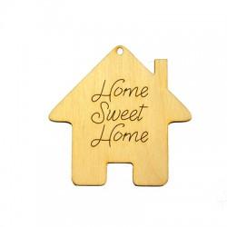 """Ξύλινο Μοτίφ Γούρι Σπίτι """"Home Sweet Home"""" 70x70mm"""