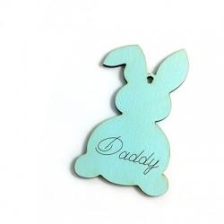 """Ciondolo di Legno Coniglio di Pasqua con Scritta """"Daddy"""" 89x55mm"""