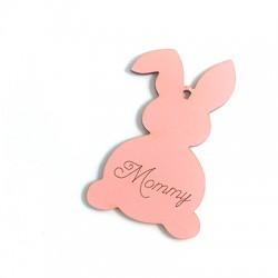 """Ciondolo di Legno Coniglio di Pasqua con Scritta """"Mommy"""" 89x55mm"""