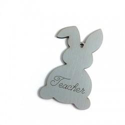 Wooden Pendant Easter Bunny 'Teacher' 89x55mm