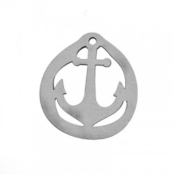 Wooden Round Pendant Anchor 50x45mm