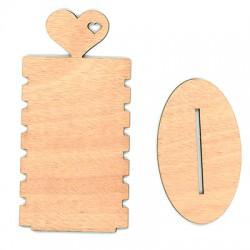 Ξύλινη Βραχιολιέρα Καρδιά 6 Θέσεων 180x90mm
