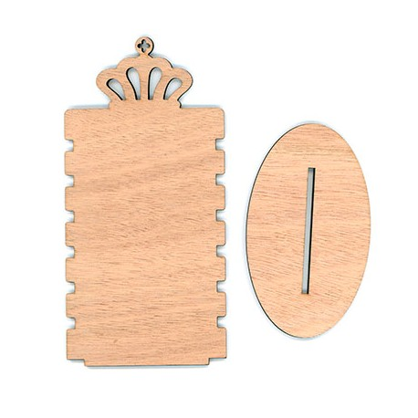 Wooden Bracelet Display with Crown 180x90mm