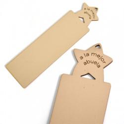 "Wooden Pendant Bookmark Star ""A LA MEJOR ABUELA"" 150x40mm"